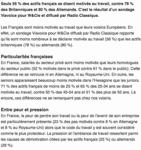 Salariés français démotivés
